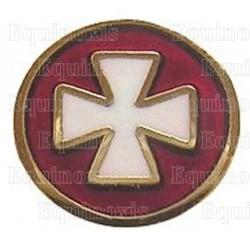 Pin's maçonnique – Croix templière émaillée blanc sur fond rouge